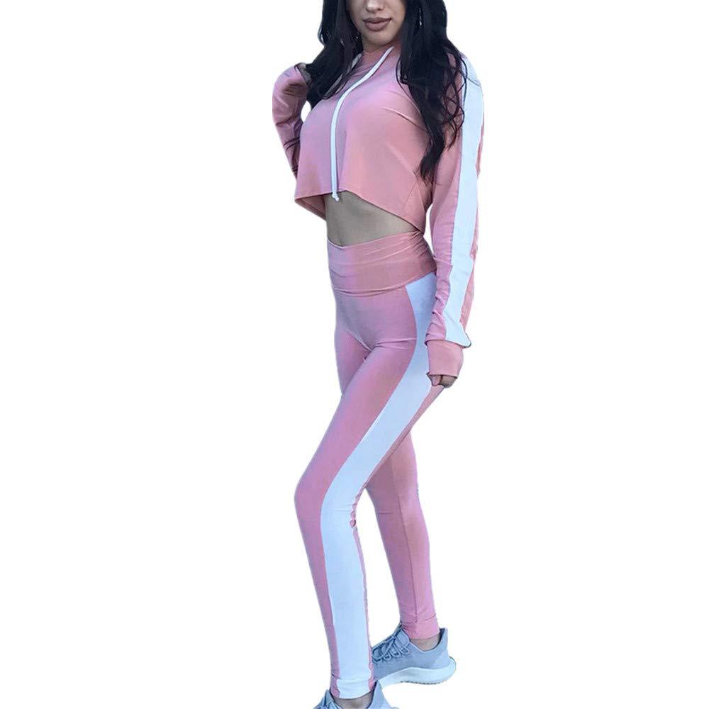 HOMEBABY Women Short Sweatshirt+Pants Set, Ladies 2Pcs Tracksuit Sweat Suit Solid Long Sleeve Hoodies Casual Gym Yoga Workout Pants Pullover Crop Tops 2 Piece Outfit Sport Wear Casual Suit