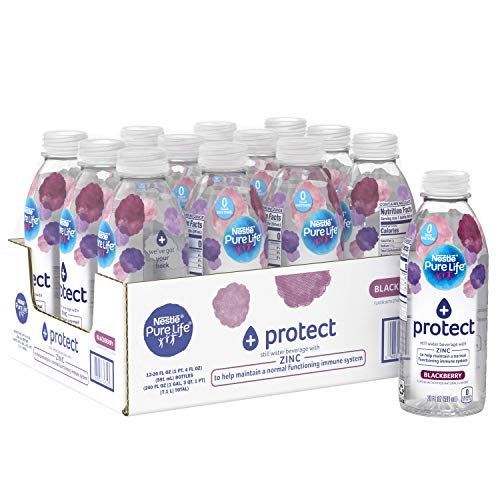 Nestle Pure Life+ give protection to with Zinc (blackberry taste) 20 Fl. Oz. (12 Pack)