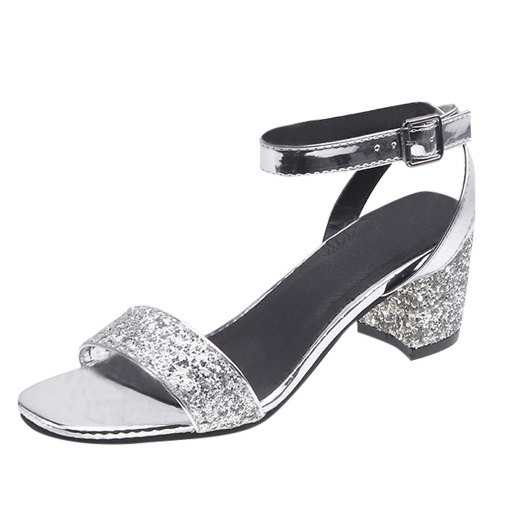 Benficial Women's Sandals Fashioh Summer Open Toe Casual Square Heels Shoes Ladies Sandals 2019 Summer New Silver by Benficial