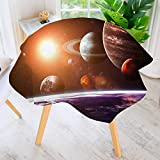 aolankaili Table Decoration Durable-Solar System with Planets Objects Sun Dark for Home Kitchen Dining roomWaterproof Coffee Tablecloth 35.5'' Round
