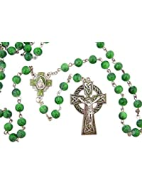 Celtic Jewelry 7MM Green Bead Rosary with Saint Patrick Irish Blessing Prayer Card
