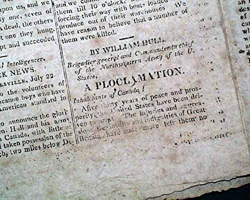 TO THE PEOPLE OF CANADA General William Hull Proclamation War of 1812 Newspaper THE UNITED STATES' GAZETTE, Philadelphia, Aug. 3, 1812 ()