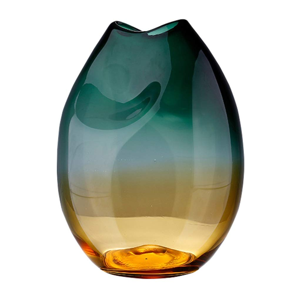 フラワーベース花器 花瓶緑色のガラス容器モダンなミニマリストの装飾リビングルームの家の装飾グラデーションフラワーフラワーアレンジメントヨーロピアンスタイル (Color : Green, Size : 21*25cm) B07S8B7CFW Green 21*25cm