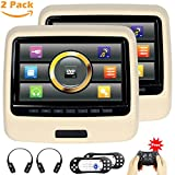 Touchscreen Headrest DVD Player for Car With Leather Cover USB SD 9 inch Screen IR Wireless Headphones HD 1080P Beige Pack of 2