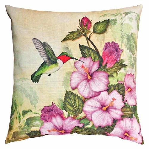 Home Decor - Hummingbird & Hibiscus Pillow - 18