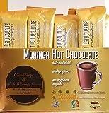 COCORINGA Moringa Cacao Hot Chocolate Cocoa With Pre & Pro Biotics, Natural, Non Dairy, High Protein, High Fiber