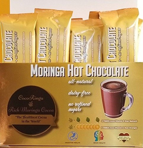 - COCORINGA Moringa Cacao Hot Chocolate Cocoa With Pre & Pro Biotics, Natural, Non Dairy, High Protein, High Fiber
