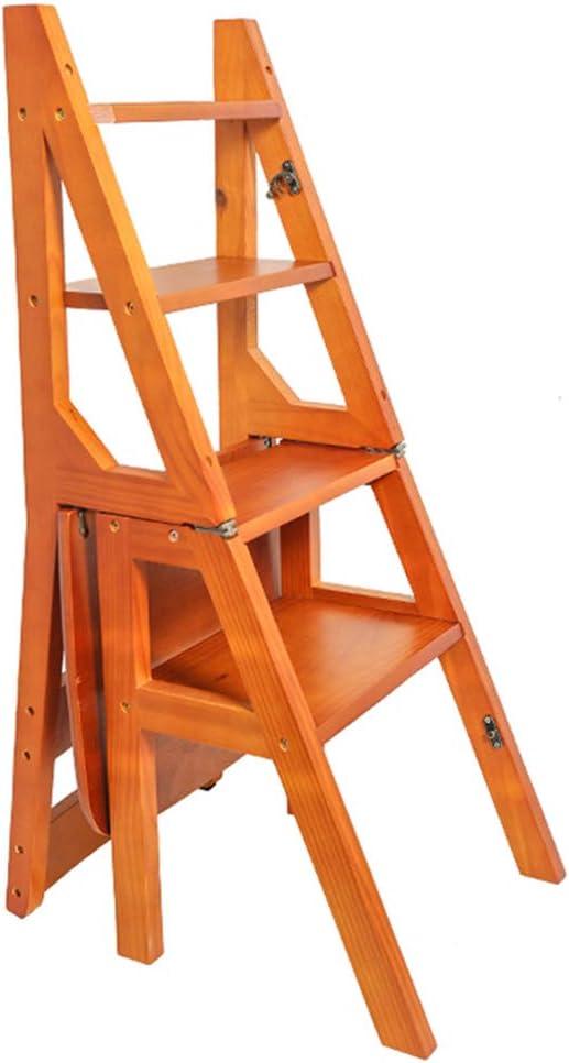 Taburetes de Escalera Plegable de Madera de Pino Biblioteca de 3 Niveles Escalera de Tijera Escalera Multifuncional Oficina de Cocina Carga máxima.150 kg: Amazon.es: Hogar