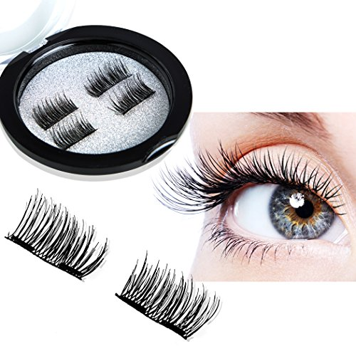 PrettyQueen Magnetic Eyelashes Double Magnet 3D False Eyelashes,1 Pairs Long Handmade Eyelashes Makeup Natural Fake Black Eyelashes Cosplay For (Pretty Halloween Makeup Simple)