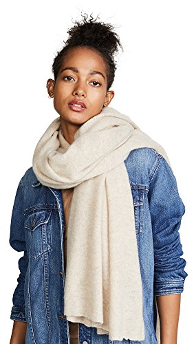 White + Warren Women's Cashmere Travel Wrap Scarf, Biscuit Heather, One Size by White + Warren