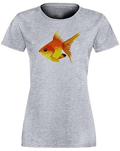 Poisson Gris Coton Femme T-shirt Col Ras Du Cou Manches Courtes Grey Women's T-shirt