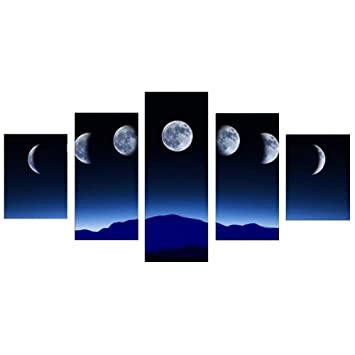 5Pcs Solar Eclipse Space Picture Modern Art Canvas Wall Art Home Office Decor