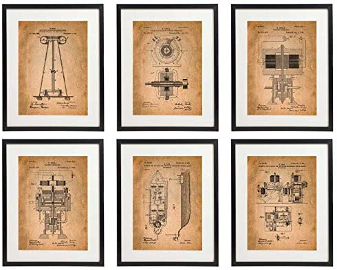 IDIOPIX Tesla Patent Prints Home Decor Art Print Set of 6 Prints UNFRAMED No.1