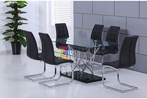 Mesa de cristal para comedor con 6 sillas de piel sintética en ...