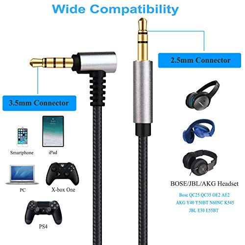 Replacement Audio Cable Inline Volume Control with Microphone for Bose QuietComfort QC25, QC35, On-Ear 2,OE2,OE2i Headset Fit for Xbox One PS4, Also Fit AKG Y40 Y50BT N60NC K545, JBL E30 E55BT 4 Feet