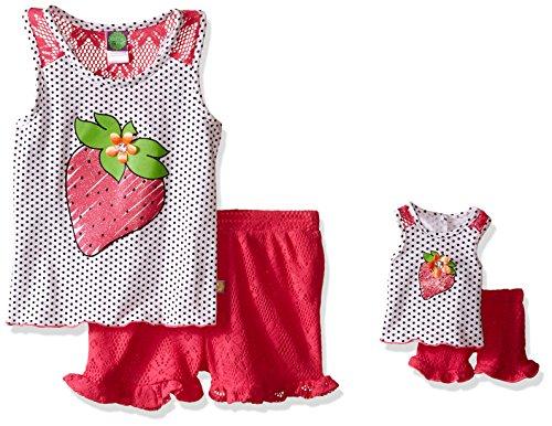 Dollie & Me Big Girls' Strawberry Knit Tank with Crochet Knit Shorts, Fuchsia/Multi, 12