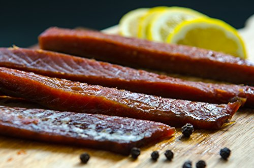 Wild Caught Double Smoked Salmon Strips Canadian Sockeye Made in BC Canada (1/2 Lbs)