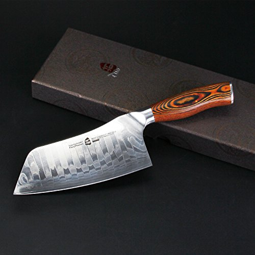 TUO Cutlery Cleaver Knife - Japanese AUS-10 Damascus Steel - Chinese Chef's Knife for meat and vegetable with Ergonomic Pakkawood Handle - 7'' - Fiery Phoenix Series by TUO Cutlery (Image #2)