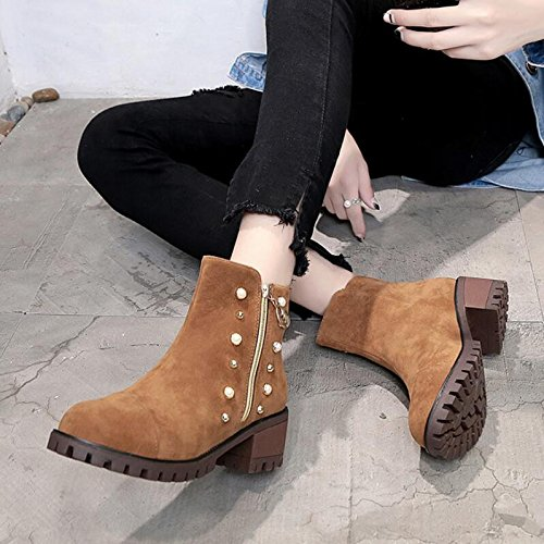 5Cm Side Thick Singles Bare Shoes Rivets High Heeled Zipper Round KHSKX Martin Head Shoes Boots Boot Boots 37 Brown Women'S With Ladies ZAqxv84w5p