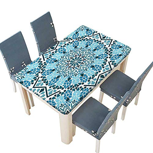 PINAFORE Fitted Polyester Tablecloth  Consists of Ally ed and Stars Art Blue White Washable for Tablecloth W69 x L108 INCH (Elastic Edge)