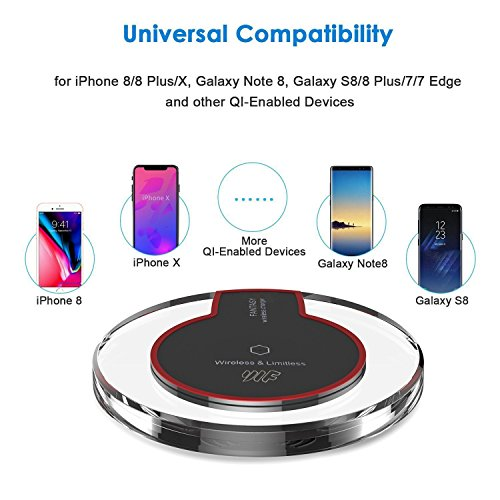 wireless charger youlifang s6 s7 8 wireless charger pad for iphone8 8plus iphone x samsung. Black Bedroom Furniture Sets. Home Design Ideas