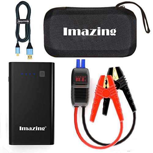 Imazing Car Jump Starter 1000A Peak 8000mAh with Type-C Port(Up to 7.0L Gas or 5.5L Diesel Engine), 12V Portable Power Pack Auto Battery Booster with LCD Display Jumper Cables, QC 3.0 and LED Light by Imazing (Image #8)