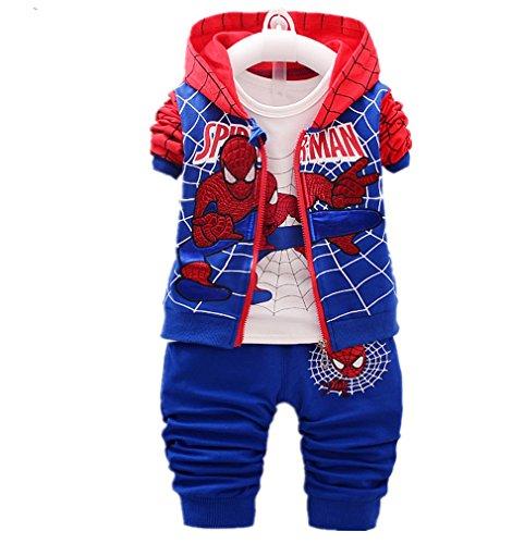 3pcs/Set Baby Clothing Spiderman Coat+ T-Shirt+Patchwork Pants Sets (Blue, 12-24 Months)]()