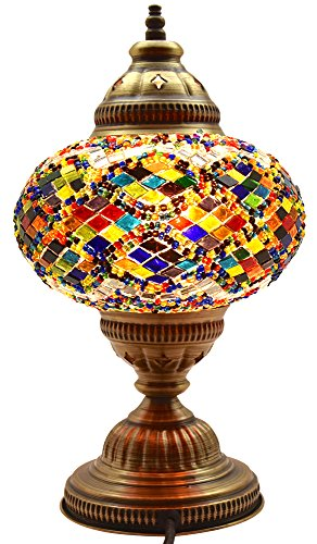 New* BOSPHORUS Stunning Handmade Turkish Moroccan Mosaic Glass Table Desk  Bedside Lamp Light With Bronze Base (Multi Colored)