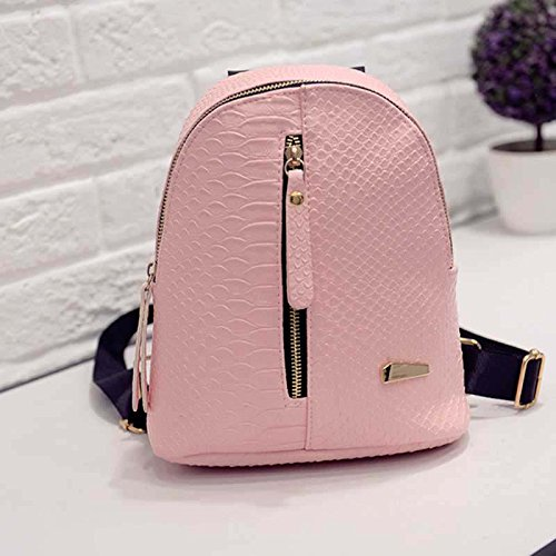 Alligator Pu Zipper Backpack Leather Vertical Borse Zipper Donna Travel Tracolla regolabile Tracolla Pink Women Small Fashion Espeedy Casual xw6UFfF