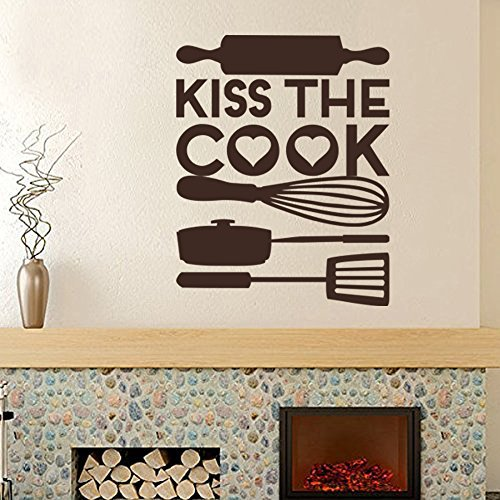 (Wall Decal Decor Kitchen Vinyl Wall Decal - Kiss the cook - Kitchen Wall Quote Decal Cook Kits Vinyl Art Sticker(Dark Brown, 58