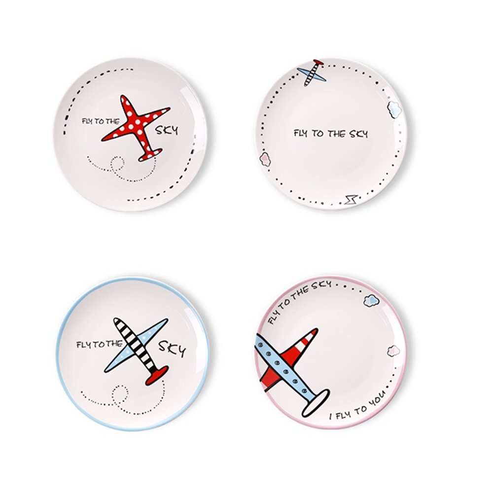Fly To The Sky Ceramic Dessert Plates 8-inch Round Salad Dinner Plates Pack of 4 by Huayoung (8-inch)
