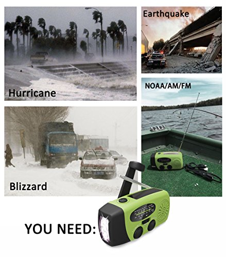 Weather Radio Hurricane Radios Hand Crank,FM/AM/NOAA Solar