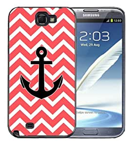 Samsung Galaxy Note 2 Black Rubber Silicone Case - Chevron Pattern Print Red White Anchor Nautical