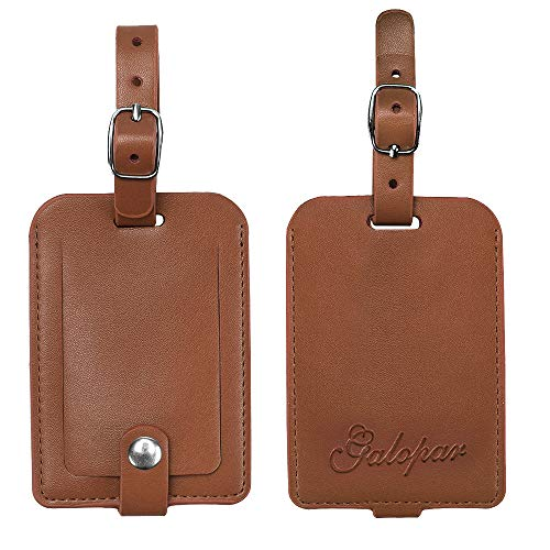 Luggage Tags, Galopar PU Leather Suitcase ID Tags Travel Luggage Baggage Handbag Tag Labels Travel Accessories (2 Pack)