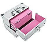 Wakrays Professional 3-Tier Portable Foladble Extendable Makeup Train Case Aluminum Cosmetic Box + Mirror + 2 Keys (Silver Pink)