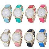 Fashion Women Diamond Analog Leather Strap Quartz Wrist Watches rhinestone decoration cheap low price