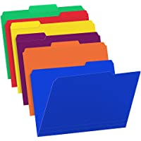 Sooez 18 Pack Colored Plastic File Folders with Sticky Labels, Heavy Duty Letter Size File Folder with Erasable 1/3-Cut…