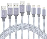 amazon apple iphone5 wall charger - iPhone Charger, MSXRAYSON iPhone Charger Cable Cord Lightning to USB Nylon Braided with Aluminum Connector 4Pack 3FT 6FT 6FT 10FT for iPhone X/8/8 Plus/7/7 Plus/6s/6s Plus/6/6 Plus,iPad,-Gray White