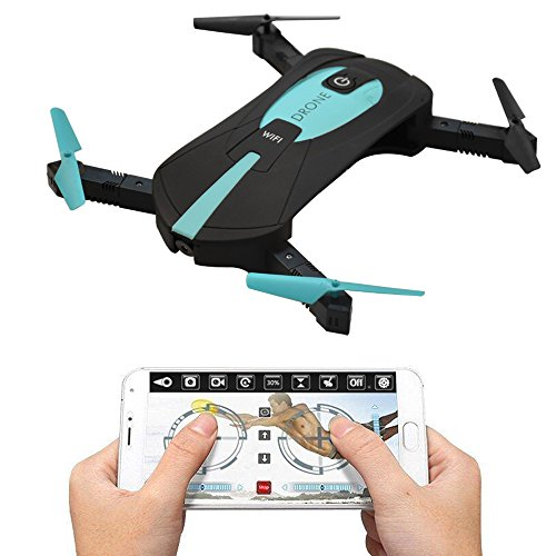 FPV RC Drone Quadcopter With Camera, 0.3MP WiFi Real-Time Foldable Selfie Pocket Drone, Altitude Hold & Headless Mode & One Key Return Mini Helicopter With Phone Control, RC Toys