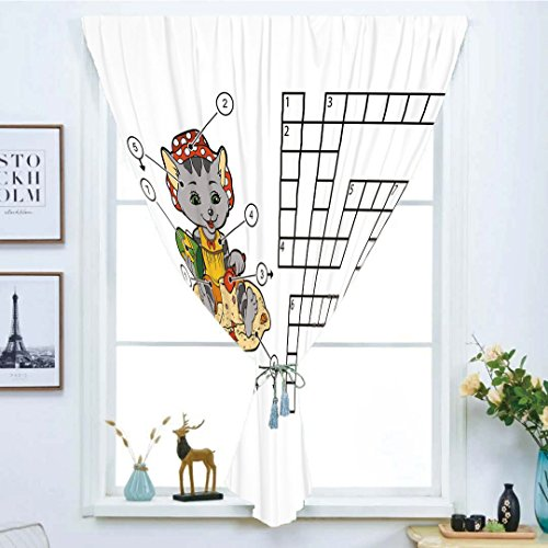Blackout Window Curtain,Free Punching Magic Stickers Curtain,Word Search Puzzle,Crossword Game for Children Cute Cat on Beach and Building Sand Castles Decorative,Multicolor,Paste style,for Living Roo