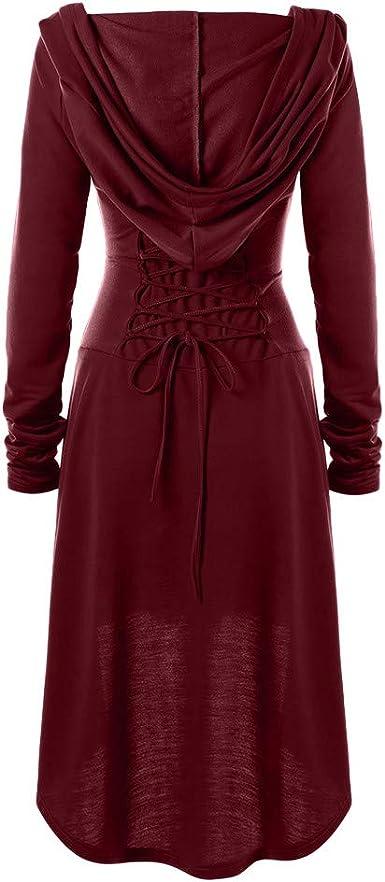 kolila sweter z kapturem damski Renaissance kostium kaptur Robe Lace Up Vintage sweter High Low długa sukienka z kapturem: Odzież