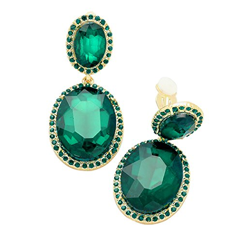 Father Of The Year Halo Costume (Rosemarie Collections Women's Double Oval Crystal Evening Clip On Earrings (Gold Tone/Green))