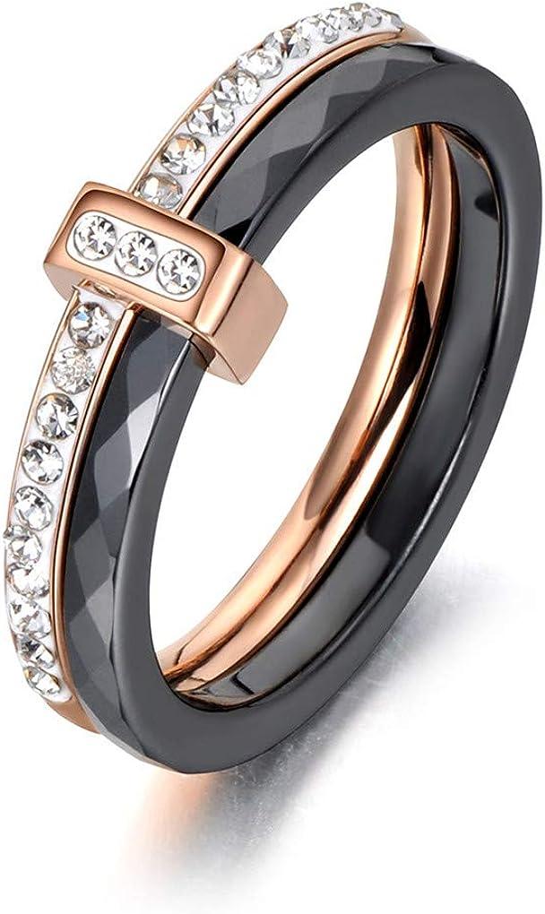 Ferusshomic 2 Layers Black//White Ceramic Crystal Wedding Rings Rose//White Gold Stainless Steel Rhinestone Engagement White Gold Black 7