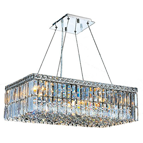 Worldwide Lighting W83524C24 Cascade Collection 6 Light and Clear Crystal Rectangle Chandelier, 24