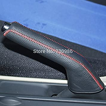 Red Stitch Civic Black Car Handbrake Cover Genuine Leather Dedicated Side Brake Protective Cover Lever Protective Cover for 2006 2007 2008 2009 2010 2011 Civic Accessories