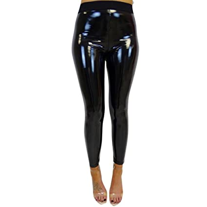 99332c4ba3cfc Vicbovo Womens Shiny Metallic Wet Look Skinny High Waist Faux Leather  Leggings Pants Black for Night