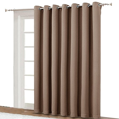 NICETOWN Blackout Blinds for Patio Door - Sliding Door Insulated Blackout Curtains, Extra Wide Curtain for Villa/Hall/Parlor (100' W x 84' L, Cappuccino)