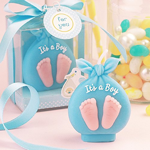 Baby Boy Gifts Uae : Baby christening candle adorable boy girl footprint