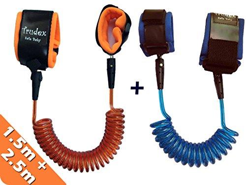 2 Pack Child Anti Lost Belt, Trudex Safe Skin Friendly Anti Pricking Cotton Wrist Straps,1.5m & 2.5m/ Blue & Orange