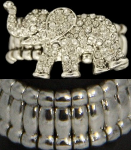 Toned Crystal Rhinestone (From the Heart Clear Sparkling Crystal Rhinestone Elephant Silver Toned Metal Stretch RIng.Elephant is approximately 1 inch long. Celebrate Your Fascination with this Interesting Animal!!!It Sparkles!!!One Size Fits)